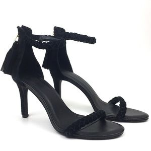 Joie black leather strappy heeled sandal braided
